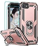 LeYi Funda iPhone SE 2020 con [2-Unidades] Cristal Vidrio Templado,Armor Carcasa con 360 Grados Anillo iman Soporte Hard PC Silicona TPU Bumper Antigolpes Case para Movil iPhone SE 2020,Oro Rosa