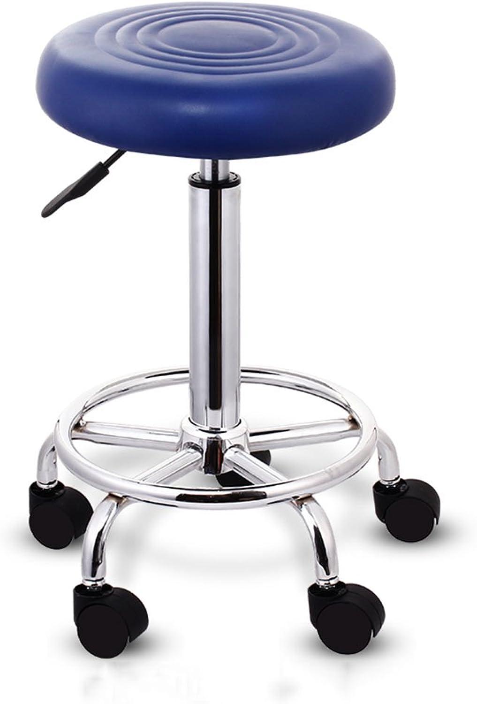 Rolling Bar Stool,Swivel Adjustable Hydraulic Metal Chrome Frame Chair, Massage Spa Salon PU Seat,bluee