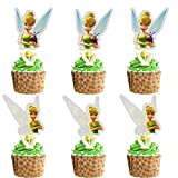 Glitter Tinker Bell Cupcake Topper, Peter Pan Theme Birthday Party Suppliers, Disney Fairy Tinker Bell Inspired Cupcake Decoration, Girls Fairy Party Favor