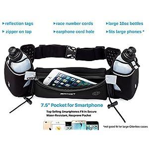 Running Hydration Belt with Water Bottles (2x 10oz), Fuel Belt Fits Iphone 6s Plus for Running, Race, Marathon, Hiking, Adjustable Waist Hydration Pack, Men & Women Runners Belt