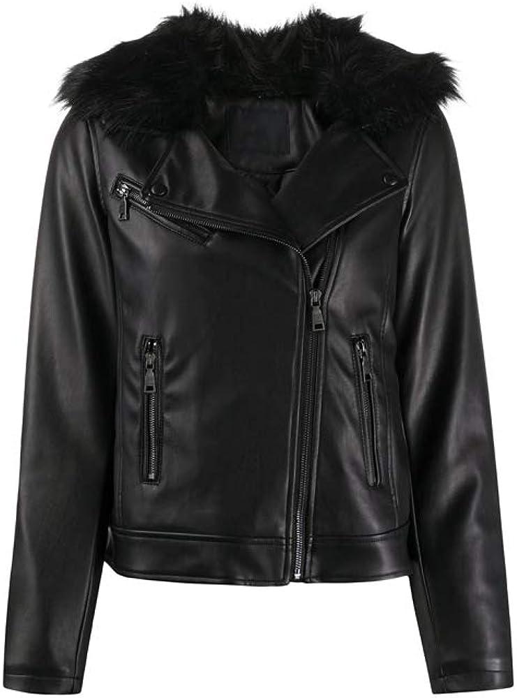 fur collar faux leather jacket- women leather Jacket