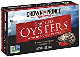 Crown Prince Natural Smoked Oysters with Red Chili Pepper, 3-Ounce Cans