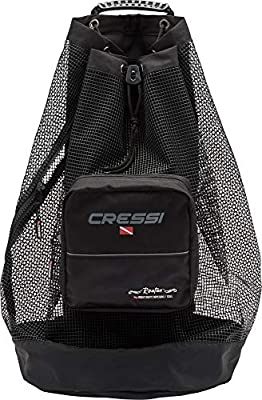 Cressi Heavy Duty Mesh Backpack 90 liters Capacity for Scuba Diving, Water Sport Gear   Roatan: Designed in Italy, Black, One Size (UB936000)