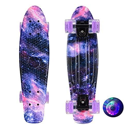 WATPET Monopatín Skateboards, 22 Pulgadas de Skateboard Flash Tablero de Pescado, Scooter PP Longboard para Adultos u Adolescentes diseños (Color : Purple Flash Wheels)