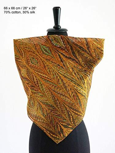 ART-DÉCO TUCH Baumwolle und Seide, Art Nouveau, Jugendstil, braun grün
