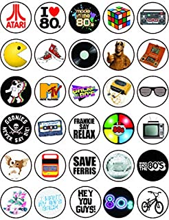 30 x Edible Cupcake Toppers – 80's Retro Party Themed Collection of Edible Cake Decorations   Uncut Edible on Wafer Sheet