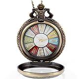 JewelryWe - Reloj de bolsillo estilo retro r rueda Roma Steampunk reloj de bolsillo colgante cadena de 30' de largo (con bolsa de regalo)