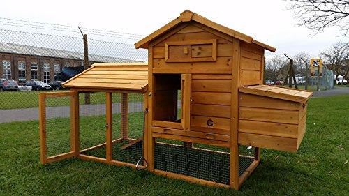 Hühnerstall Hühnerhaus Hühnerstall für 1 - 2 medium Vögel oder 2 - 4 Wachteln mit abnehmbares Dach für einfachere Reinigung mit Lüftungslöchern, mit stabilem Nistkasten ca. 151cm(L) x 93cm(H) x 70cm(T)