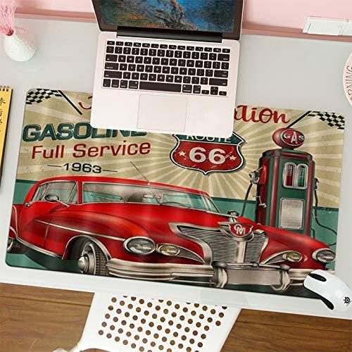 Alfombrilla para ratón (80x30 cm). US Route 66 Vintage Red Racing Car,Base Antideslizante. Especial para Gamer