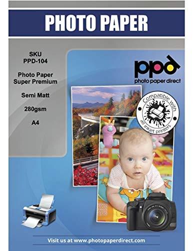 PPD PPD-104-50 - Papel fotográfico satinado mate para inyección de tinta (A4, 280 g/m², 50 hojas)