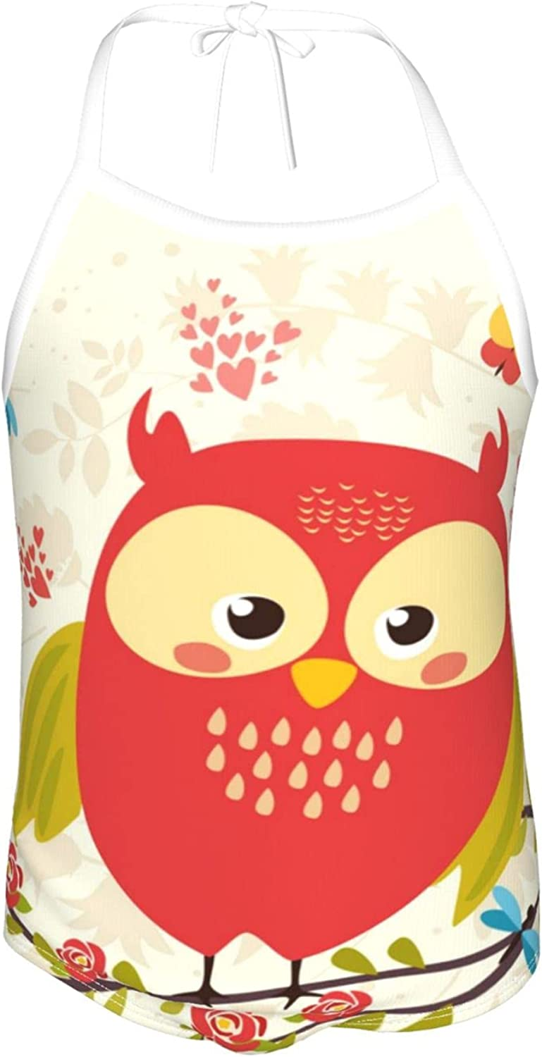 Girls One Pieces Swimsuit Cute Spring Owl Red Beach Sport One Piece Swimsuit Beach Swimwear for Toddler G