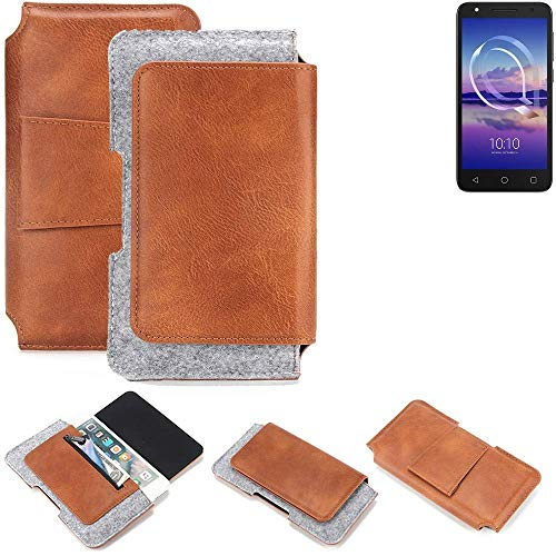 K-S-Trade® Schutz Hülle Für Alcatel U5 HD Single SIM Gürteltasche Gürtel Tasche Schutzhülle Handy Smartphone Tasche Handyhülle PU + Filz, Braun (1x)