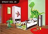 Kinderbett Wenge mit Matratze Bettkasten und Lattenrost - verschiedene Motive DM (Dinosaurier, 180x90)