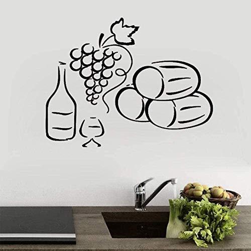 Etiqueta de la pared de vino y vidrio etiqueta de la pared de la cocina decoración del hogar impermeable extraíble etiqueta de la pared arte mural papel tapiz 58X78Cm