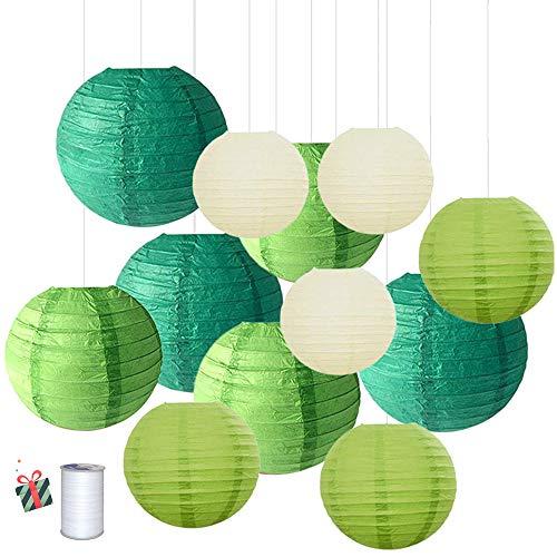 Treer Linternas de Papel Farolillo, 12 Piezas 6\ 8\ 10\ 12\ Papel Redondo para Decoracion, Ideal la Fiesta, el Cumpleanos, la Navidad y la Boda Decoracion (Verde)