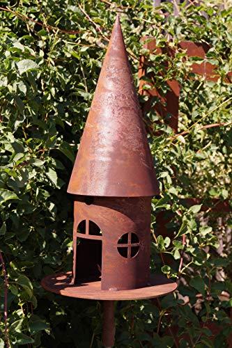 Edelrost Vogelhaus für Stab rund schmal 43cm Garten Deko Futterstation