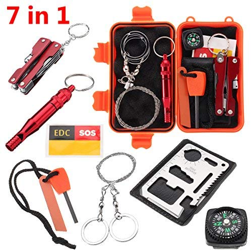 Slimerence kit di sopravvivenza, 7 in 1 Outdoor camping hiking Tools box set con valigetta, acciarino, fischietto, bussola, leggero, attrezzo multifunzione card, pinze linea dati