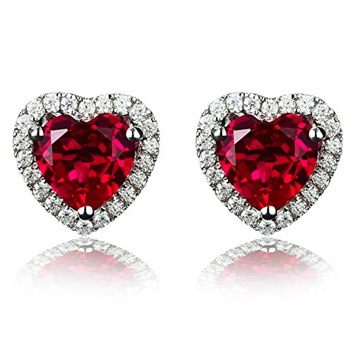 Navachi 925 Sterling Silver 18k White Gold Plated 4.5ct Heart Ruby Az9131e Stud Earrings