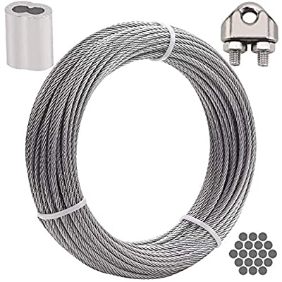 IHAYNER 100FT 1/8 Inch T316 Stainless Steel Wire Cable 1x19 for Railing, Decking, DIY Balustrade, Aircraft, Light Hanging, Fishing, Zipline 1780 lb Breaking Strength 1x19 Stainless Steel Cable 1/8