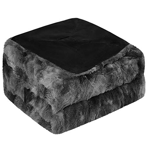 PiccoCasa Soft Faux Fur Blanket Twin Size - Reversible Tie-dye Luxury Shaggy Throw Blanket for Sofa, Couch and Bed - Plush Fluffy Fleece Blankets as Gifts 60 x 80 Inch Black