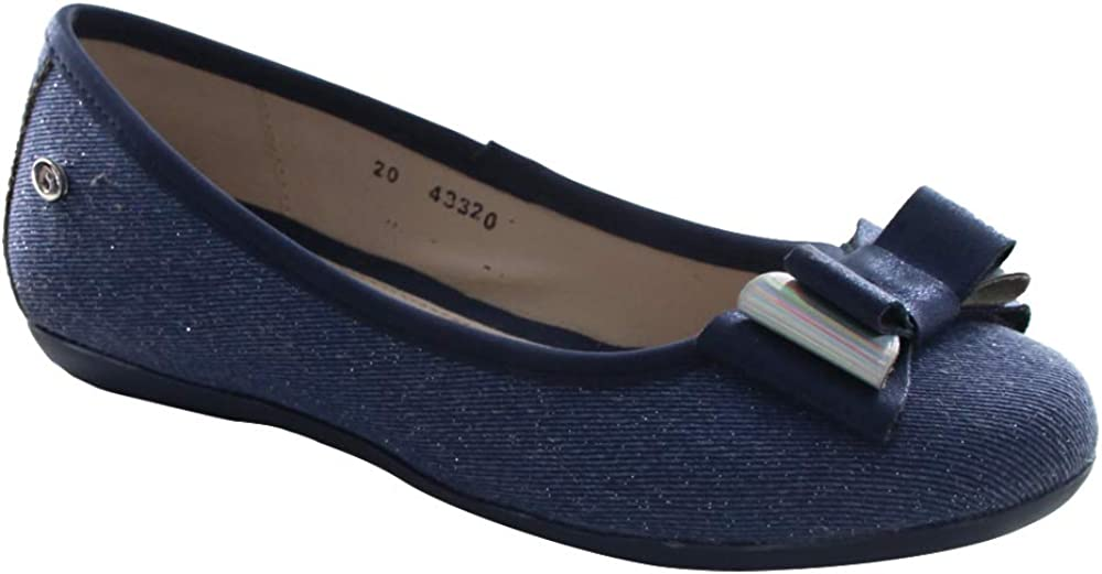 COQUETA Girls Ballerina Shoes in Blue with a Bow Formal Wear