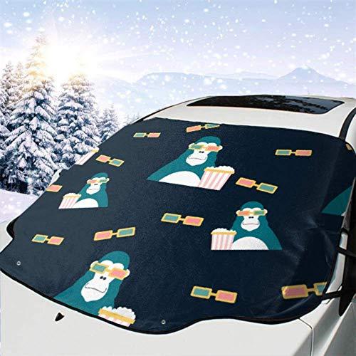 Cubierta del parabrisas delantero del coche Impresionante retro lindo diseño de gorila camiseta cubierta impermeable para la nieve del coche, parasol de eliminación de hielo del vehículo, 147x118cm