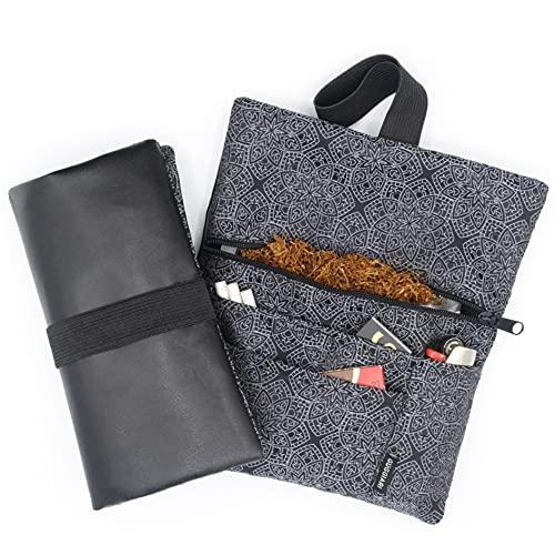 GUGGIARI® Tabaktasche Stoff für 30g bis 50g, mit Filterfach & Blättchen & Feuerzeug - Tabakbeutel für Drehtabak aus PU-Leder mit Reißverschluss und Gummiband (Black - Dèco)
