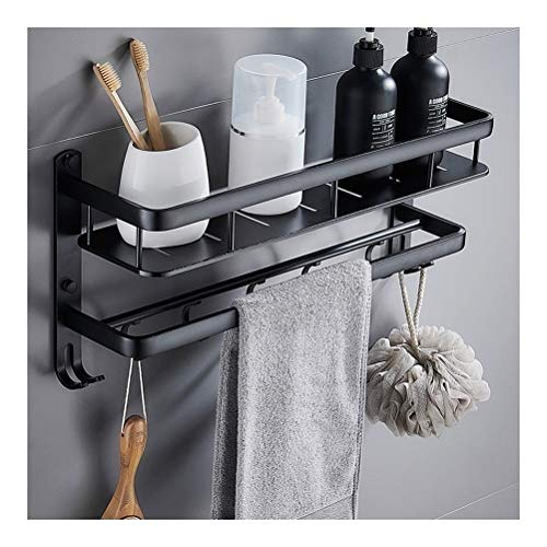 ZHANMAM Shower Caddies with Towel Rail Bathroom Shelf Space Aluminum Shelves Rectangle 1 Tier Rack Wall Mounted Black 40~60cm 1006 (Size : 60cm)