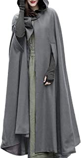 Sumeimiya Womens Capes Hooded Cloak Outwear Poncho Warm Autumn and Winter Coat Open Front Long Cosplay Costume