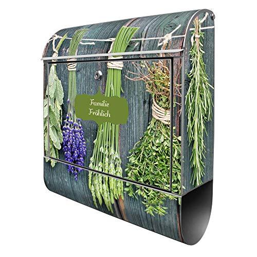 Banjado Design Briefkasten personalisiert mit Motiv Acht Kräuter   Stahl pulverbeschichtet mit Zeitungsrolle   Größe 39x47x14cm, 2 Schlüssel, A4 Einwurf, inkl. Montagematerial
