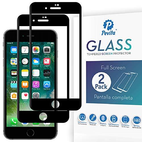 Pevita Protector de Pantalla Compatible con iPhone 7 Plus/iPhone 8 Plus [2 Packs] Full Screen. Dureza 9H, Sin Burbujas, Fácil Instalación. Cristal Templado Premium para iPhone 7 Plus/iPhone 8 Plus