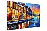 CANVAS IT UP Domingo Noche en Amsterdam por Leonid Afremov Impreso en un Cuadros en Lienzo Impresiones de Pared Abstracta Arte Moderno tamaño: 40'x 30' (101cm x 76cm)