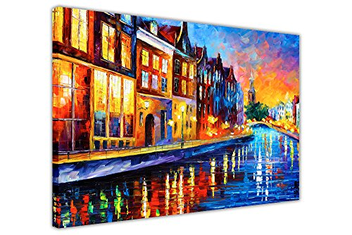 Canvas It Up Sunday Night in Amsterdam di Leonid Afremov Stampato su Una Tela Immagini da Parete Stampe Arte Moderno Formato: A3–40,6x 30,5cm (40cm x 30cm) Black Friday
