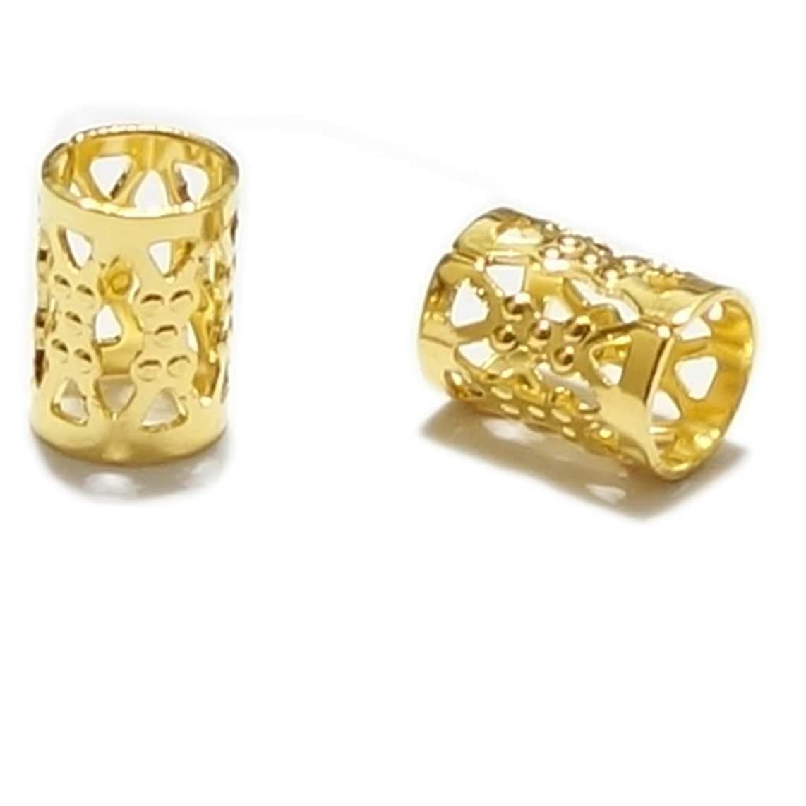 50pcs Top Quality 8mm Gold Plated Filigree Pattern Tubes Large Hole Spacer Beads (Hole ~4.9mm) CF106-G