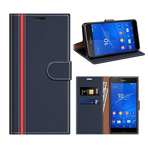 COODIO Sony Xperia Z3 Hülle Leder, Sony Xperia Z3 Kapphülle Tasche Leder Flip Cover Schutzhülle Rugged für Sony Xperia Z3 Handyhülle, Dunkel Blau/Rot