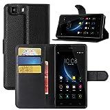 HualuBro Doogee X5 Hülle, Doogee X5 Pro Hülle, Premium PU Leder Leather Wallet HandyHülle Tasche Schutzhülle Flip Case Cover für Doogee X5 / Doogee X5 Pro Smartphone (Schwarz)