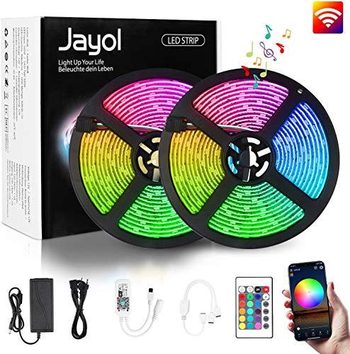 Jayol RGB LED Streifen Kit,10m, 16 Millionen Farben,steuerbar via App, SMD 5050 LED Stripes Kompatibel mit Alexa, Google Home, IFTTT,IP65 wasserdichte, Sync mit Musik,für Deko Party Weihnachten
