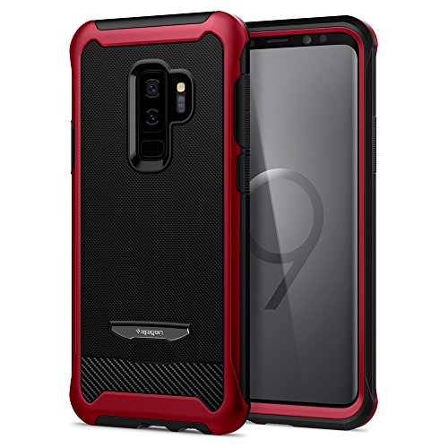 Spigen Cover Galaxy S9 Plus [Reventon] Full Body Case with Flexible Inner Protection And Reinforced Hard Bumper Frame And Tempered Glass Screen Protector for Galaxy S9 Plus - Metalic Red