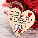 Placa de Corazón Colgante de Madera Hecha a Mano Placa de Madera de Corazón de San Valentín Letrero Romántico de Cita Amor Recuerdo para Decoración Colgante de Aniversario Novios Novias