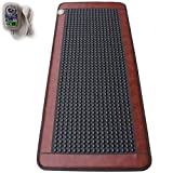 min Infrared Heat Therapy Healing Natural Jade Mat Pad Negative Ions Mattress Smart Controller Adjustable Temp for Chronic Back Pain Relief Full Body Massage 19.6In X 59In