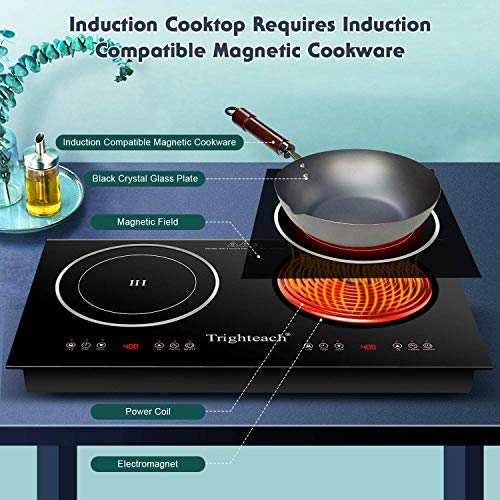 Product Image 2: Trighteach Portable Induction Cooktop(Double Countertop Burner) 2200W Electric Stove with Digital Touch Sensor and Kids Safety Lock, 9 Power Levels Induction Cooker Suitable for Magnetic Cookware