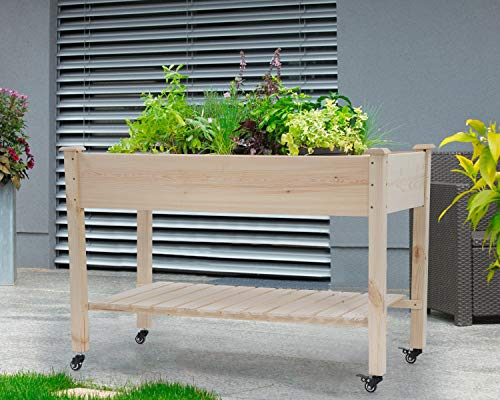 Raised garden bed with legs 48x23x32 inch wheels elevated garden bed wood planter box kit for vegetable flower outdoor… 6 ✔【high quality materials】:the raised garden bed is made of no paint, garden bed use non-toxic fir wood, which is known for its strength and dimensional stability as well as its natural resistance to rot and pests. The 0. 6'' thick solid wood boards are only sanded to prevent any undesired injury caused by wood splinters. ✔【nature gardening buddy】:the garden bed use natural wood color makes your garden and greenhouse more original and healthy, and its natural wood grain on the boards bring a rustic and natural style to your garden. ✔【ergonomic design】:the garden bed built with a set of locking wheels to move the planter from place to place. The wood garden bed user-friendly design,the height about garden raise bed is 32. 3 inch, the people who have a backache or knee pain can easily manage plants,you don't need to bend down or keep down.