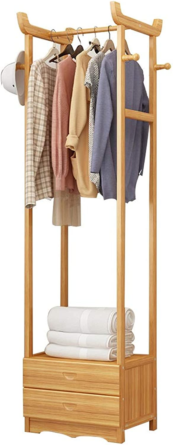 JIAYING Coat Rack Stand, Wooden Entryway Hall Tree Coat Tree with Drawer for Hat Clothes Purse Scarves Handbags (color   Wood color, Size   2-Layer Drawer)