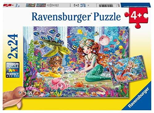 RAVENSBURGER PUZZLE 05147 Zauberhafte Meerjungfrauen Ravensburger Kinderpuzzle 05147-Zauberhafte 2x24 Teile-Puzzle für Kinder ab 4 Jahren, Yellow