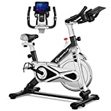 Goplus Adjustable Exercise Bike, Stationary Silent Belt Drive Bicycle, Dual-Spring Shock Absorption Design, Cup/Phone Holder and Electronic Display, Indoor Cycling Bike, 22 LBS Flywheel (Black)
