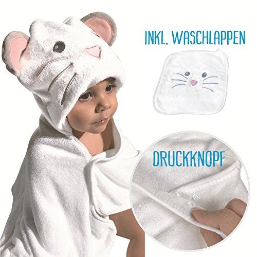 *HECKBO® Baby Handtuch Kapuze Maus + gratis Waschlappen | 0-6 Jahre | Neuheit: 2 Druckknöpfe zum flexiblem Verschließen | weiches & saugfähiges Material | Größe: 90x100cm | Kinder Badetuch Bademantel*