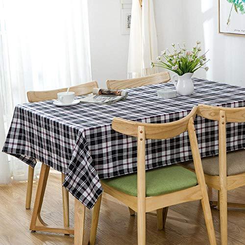 GTWOZNB Mantel Cocina Salón Limpiar. Celosía pequeñas Rayas Frescas-Gris Blanco y Negro_El 140 * 220cm