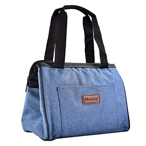 Mozing Lunch bags Insulated Lunch Tote Box Wide-Open Leak Proof Thermal Durable Carry Handle Reusable Lunch Container for Women Men Kids School College Work Picnic Hiking Beach (Blue)