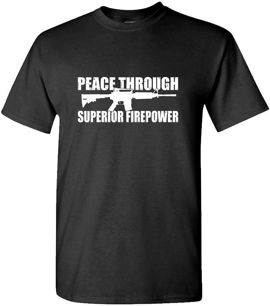 Peace Through Superior Firepower Gun Rights - Mens Cotton T-Shirt