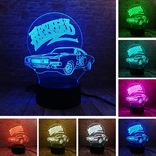 Fanrui 3D Lamp 01 AUTO The Dukes of Hazzard General Lee Car Night Light Multicolor LED 7 Colors Change Smart Boys Table Luminary Child Bedroom Decor for Men Kids Bros Dad Xmas Birthday Holiday Gifts